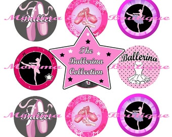 Momma Eva's --  INSTANT / The Ballerina Inspired Collection  / 4 x 6  / 1 in Circles /  Bottle Caps Scrapbooking Hair Bows / Shop SALE