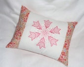"""Embroidered Candlewicking Coral Flower Pillow Cover only, Coral, Blue, and Green Print, 12""""  x 16"""""""