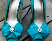 Wedding Bridal Shoe Clips Satin Bows- pair - with hinestones - MANY COLORS to choose from