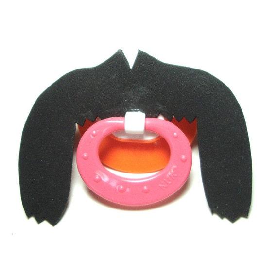 Black Fu Man Chu mustache pacifier