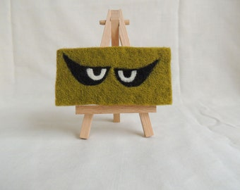 Needle-felted 'Spooky Eyes' on Mini-Canvas with easel
