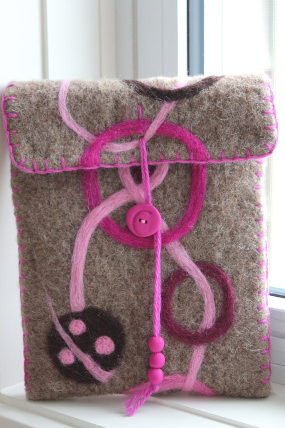 Wool Felted Pouch - Circles