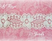 "White Stretch Lace. 1"" Wide. 5 Yards"