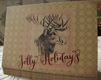Rustic Christmas Cards - Holiday Greeting Cards - Moose Christmas Card - Jolly Holidays - argyle - kraft paper - woodland