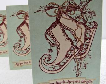 Christmas Note Cards Whimsical Elf Skates set of 5