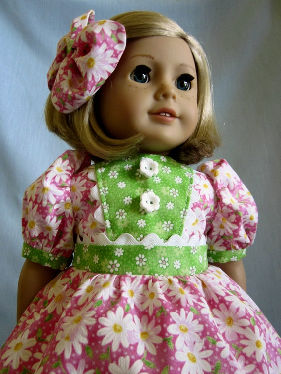 American Girl Doll Clothes  - Dress and Hair Bow in Pink and Green