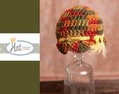 Newborn RTS Newborn Hat -Fall  Baby Beanie - Baby Hat in Orange, green, brown, yellow - Infant Photo Prop