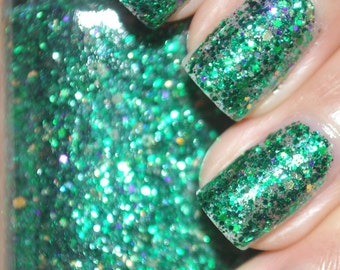 On A Budget 2.0 Green Glitter Nail Polish 15ml (.5oz)