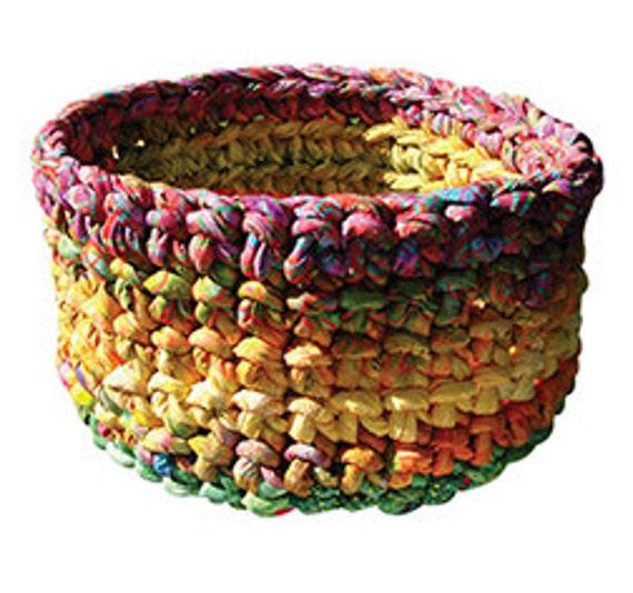 Crochet, Fabric Strip Crochet, Pop Corn Bowl, Aunties Two Patterns