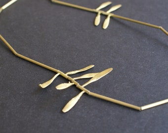 golden long necklace, metal seed minimal necklace, otto long necklace, gift for her, birthday gift, cocktail look, botanical jewel, organic