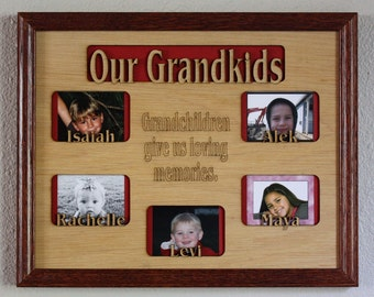 1 to 4 grandkids names mat insert only for 11x14 picture frame gifts for grandparents grandchildren personalized customized