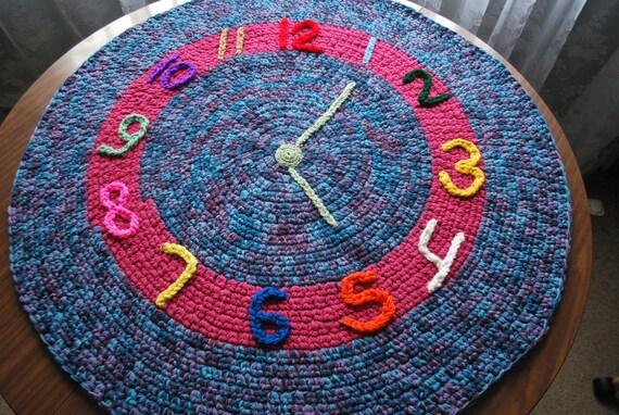 handmade circle rug children's clock