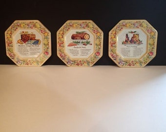 Vintage Avon Christmas Recipe Collectible Tin Wall Hangings-- Set of 3 Made In England