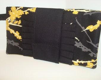 Cotton black clutch bag
