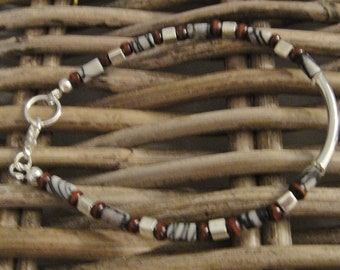Men's energy bracelet, Energy bracelet reduced stress and peace and calm, Black Veined Jasper gemstone bracelet for men