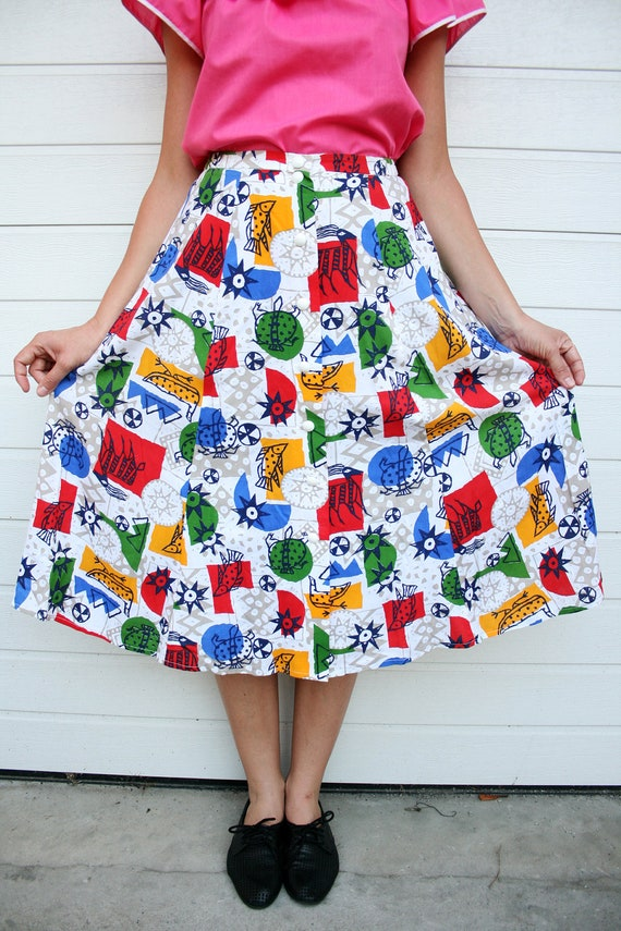 Vintage 70s Abstract and Various Animals Print Primary Colors Midi Skirt XL