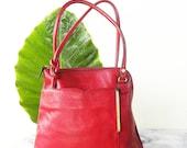 Ludivine, French Vintage, Red Leather, Handbag, Backpack, 90's