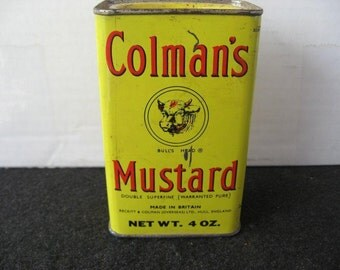Vintage collectible Colman's Mustard Spice Tin w/cow graphics