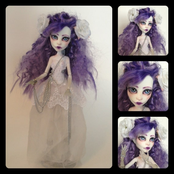 RESERVED FOR catwithoutagrin meet seraphine the pretty ghost in white custom monster high spectra doll