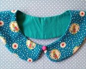 Detachable Peter Pan collar - turquoise blue spotty with colourful cockatiels