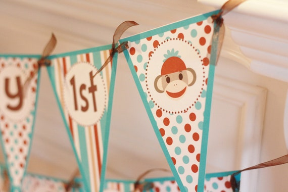 Happy Birthday Pennant Red Turquoise Brown Sock Monkey Theme Banner With Age - Ask About Our Party Pack Specials - Free Ship Over 65.00