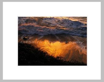 Fiery Orange Golden Sunset, Beach, Textures, Patterns, Rock, Fine Art Photography signed matted 5x7 print