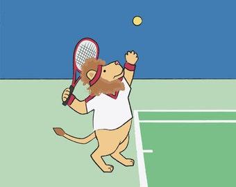 Tennis Wall Art - Lion Sports Nursery Art Print