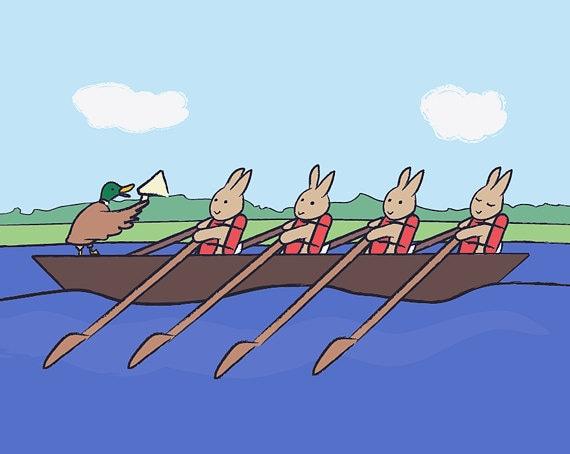 Bunny Wall Art - Rowing Rabbit Children's Bedroom Decor - Sports Nursery