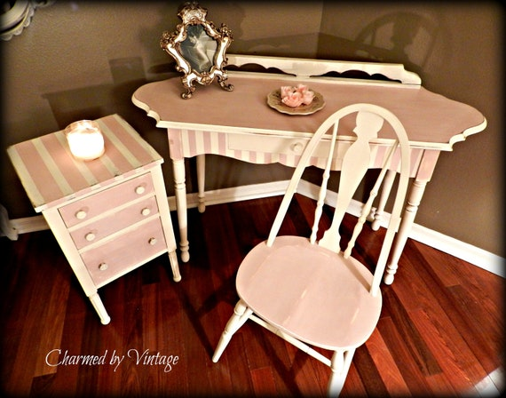 Sugar and Spice Shabby Pink and White Desk Set (RESERVED for Sheila)