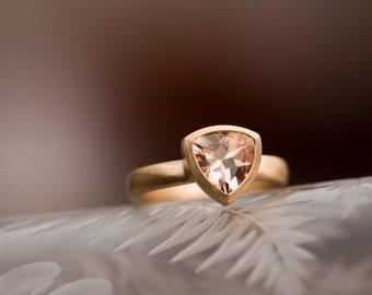 Morganite Engagement Ring - Pale Pink Morganite Gold Ring - 18k Gold Ring with Pink Gemstone- Free Shipping - Made to order - FREE SHIPPING
