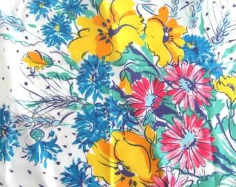 Pretty vintage Italian floral scarf. Impressionist scarf