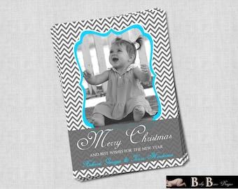 Photo Christmas Card- Blue and gray- Printable