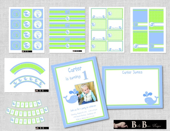Whale Birthday Party (Green & Blue)- Printable Party Supplies