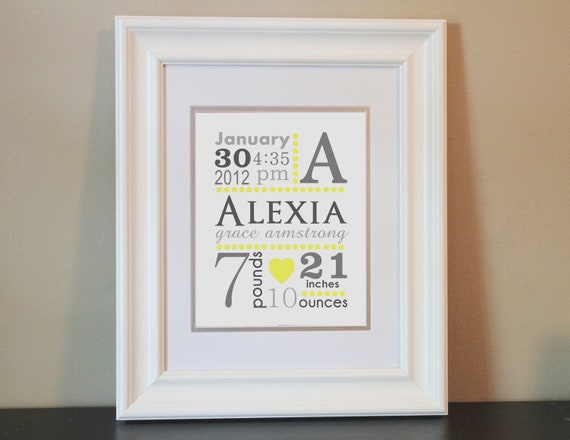 Baby Nursery Name Art Girl, Yellow and Gray- 8x10 Personalized Print