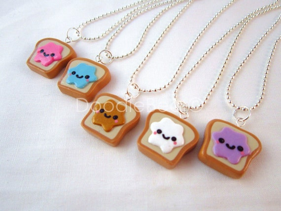 Best Friends Kawaii Peanut Butter and Jelly Toast Polymer Clay Charms BFF Silver Necklace - Pick 2