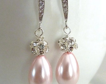 Bridal Earrings Rose Pink Teardrop Pearl Crystal Ball with Silver CZ Earrings