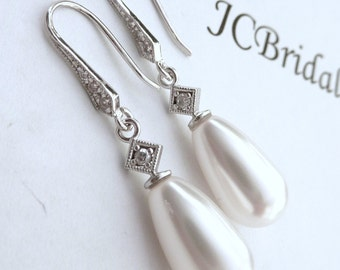 Wedding Pearl Earring Bridal Earring White Swarovski Pearl with White Gold Plated CZ Bail Cubic Zirconia Post Earrings