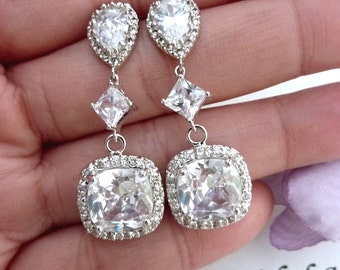 Wedding Bridal Earrings Clear White Square Cushion Cubic Zirconia CZ Drop White Gold Plated Peardrop Cubic Zirconia Post Earring