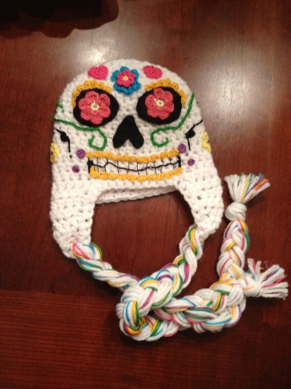 Sugar skull hat and diaper cover set