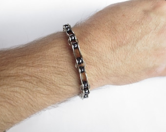 Bicycle Jewelry , Men's Bracelet , Bicycle Chain Link and Bead Bracelet , Sports , Recycled Jewelry