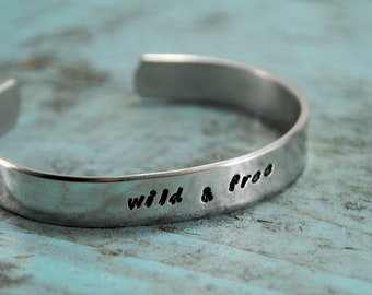 SALE Wild and Free. Aluminum cuff