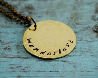 SALE Brass Wanderlust Coin Necklace