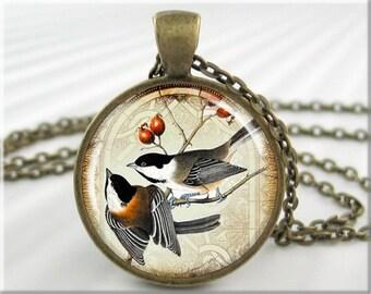 Chickadee Art Necklace, Chickadee Pendant, Bird Pair Picture Charm, Bird Lover Gift, Round Bronze, Bird Watcher Gift (041RB)