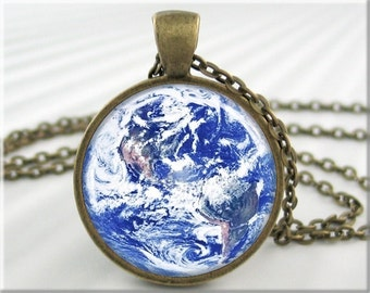 Earth Picture Pendant, Resin Pendant, Earth Jewelry, Space Photo Necklace, Planet Earth, Round Bronze (283RB)