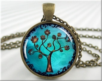 Tree Of Life Necklace, Resin Pendant, Tree Of Life Jewelry, Turquoise Tree Art, Round Bronze, Gift Under 20 (324RB)