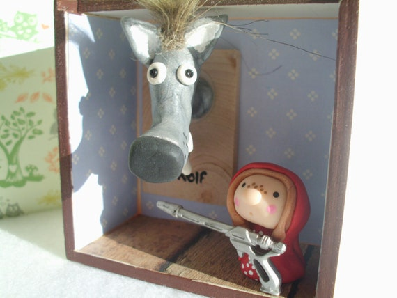 Little Red Riding Hood and Big Bad Wolf Diorama Shadow Box Fairytale Doll Ooak Polymer Clay Gun