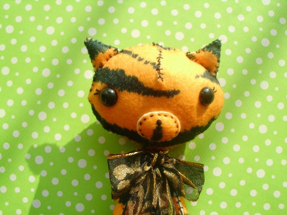 Stuffed Tiger Kitty Cat Plush Plushie Softie Stuffed Animal Woodland Animal Jungle Animal Gingermelon Ginger Melon Ooak