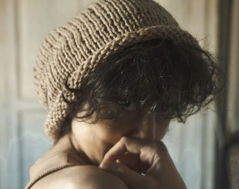 Hand Knit Hat CONVERTS to Knit Cowl Cozy Soft 100% Pure Camel Hair Yarn