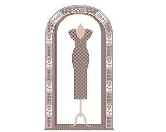 Little Black Dress cross stitch & blackwork chart nr116, party dress, cocktail dress