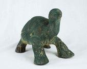 Vintage Garden Turtle, Dark Green Terra Cotta Folk Art Pottery Figurine